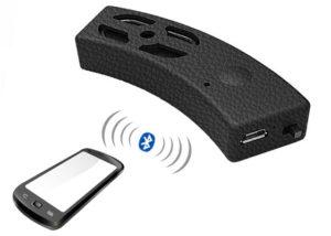 wireless controlled smart speaker on helmet